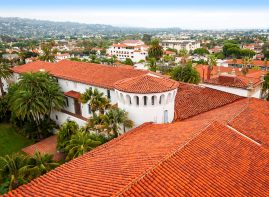 View from the clock tower of the Santa Barbara County Courthouse