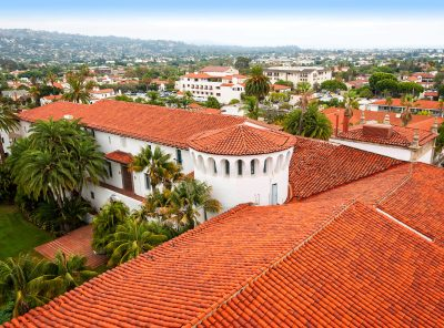 View from the clock tower at the Santa Barbara County Courthouse