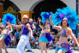 Brazilian dancers in the Santa Barbara Summer Solstice Parade