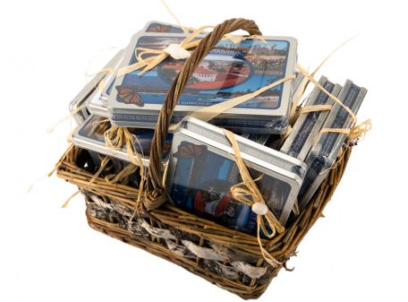 Santa Barbara Greeting Cards basket of tins
